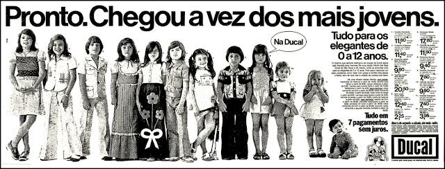 Ducal,  anos 70, Moda anos 70; propaganda anos 70; história da década de 70; reclames anos 70; brazil in the 70s; Oswaldo Hernandez