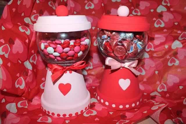 Nayeli 39 s crafts the creative spot valentines day clay pot candy dispenser - Hershey kiss dispenser ...