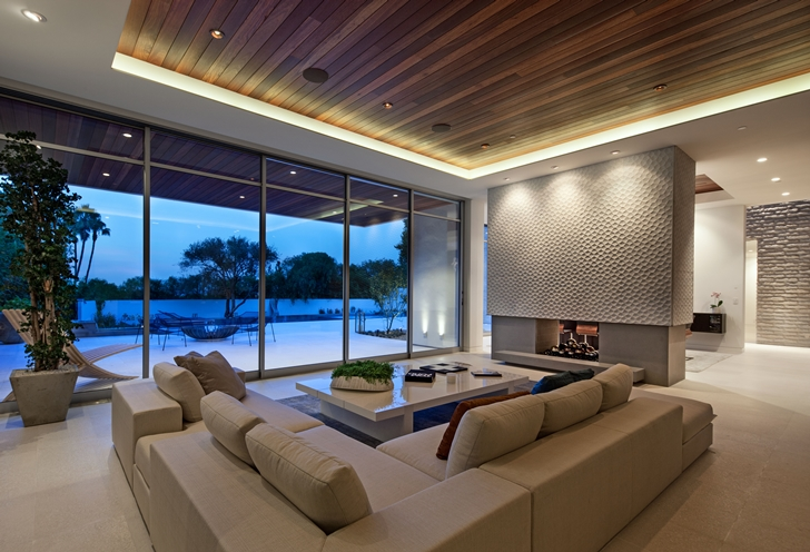 Living room furniture in Sunset Plaza Drive modern mansion in Los Angeles