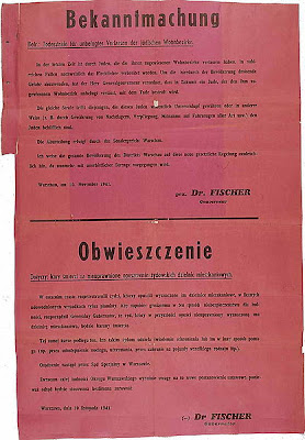 NAZI POSTER - DEATH PENALTY TO JEWS OUTSIDE GHETTO AND TO POLES WHO HELPED THEM