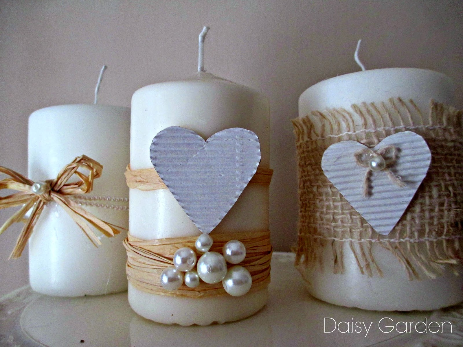 Daisy garden candele romantiche in stile shabby chic for Candele decorate