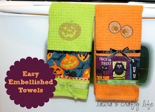 Embellished Halloween Towels by Laura's Crafty Life