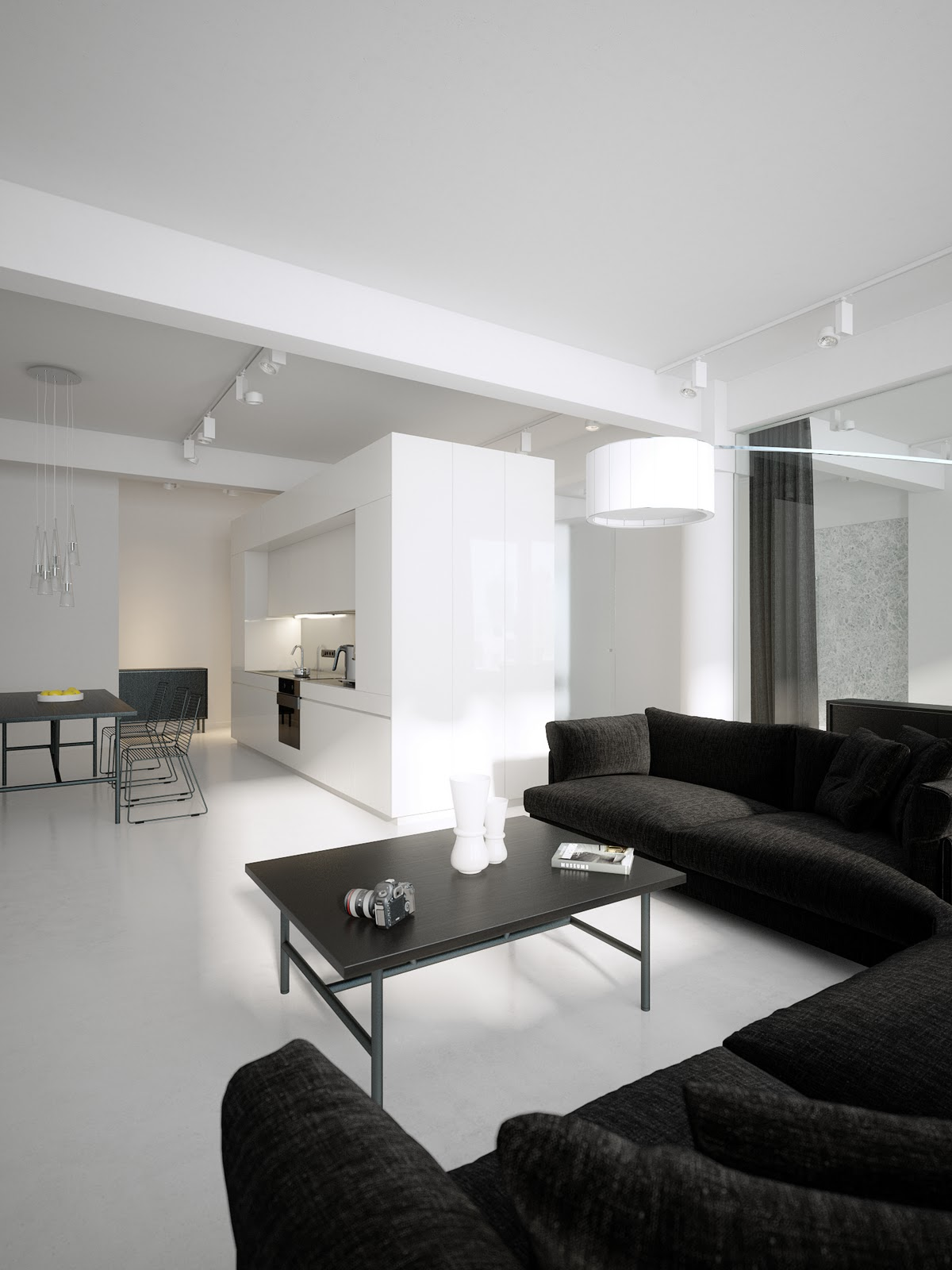 Luxury Minimalist Loft Designs in Black and White with Astonishing ...