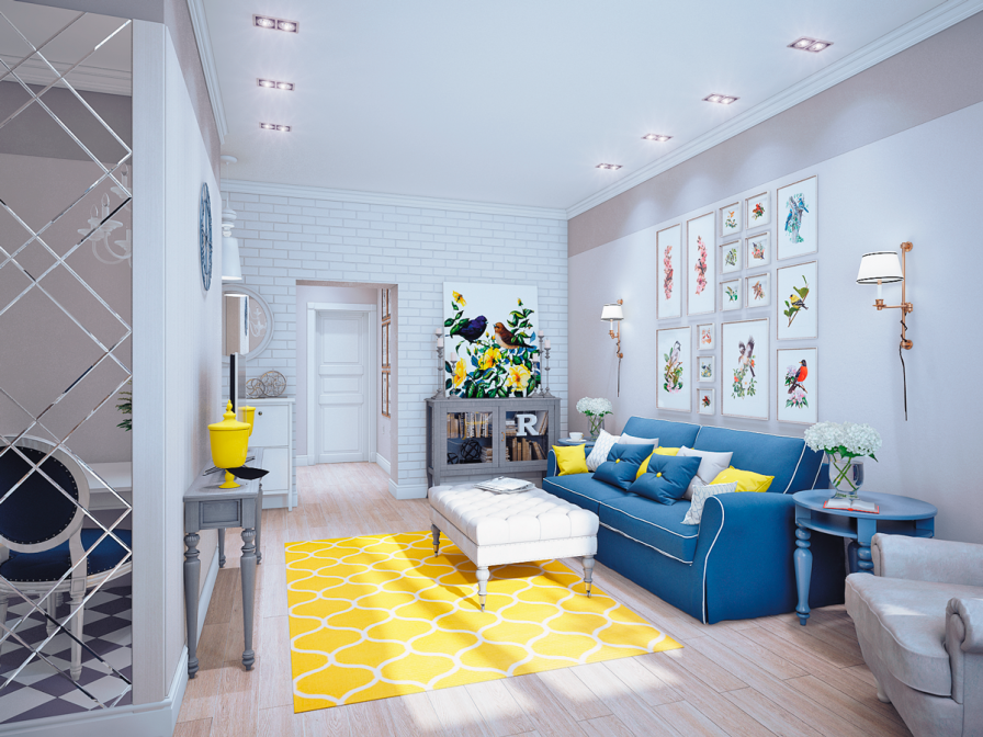 decoracao de sala azul turquesa e amarelo:Blue and Yellow Living Room Decor Ideas