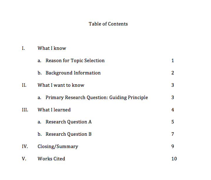 table of contents format in research paper
