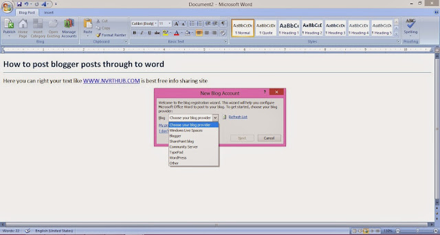 blogging posting and manage your blog through to microsoft word