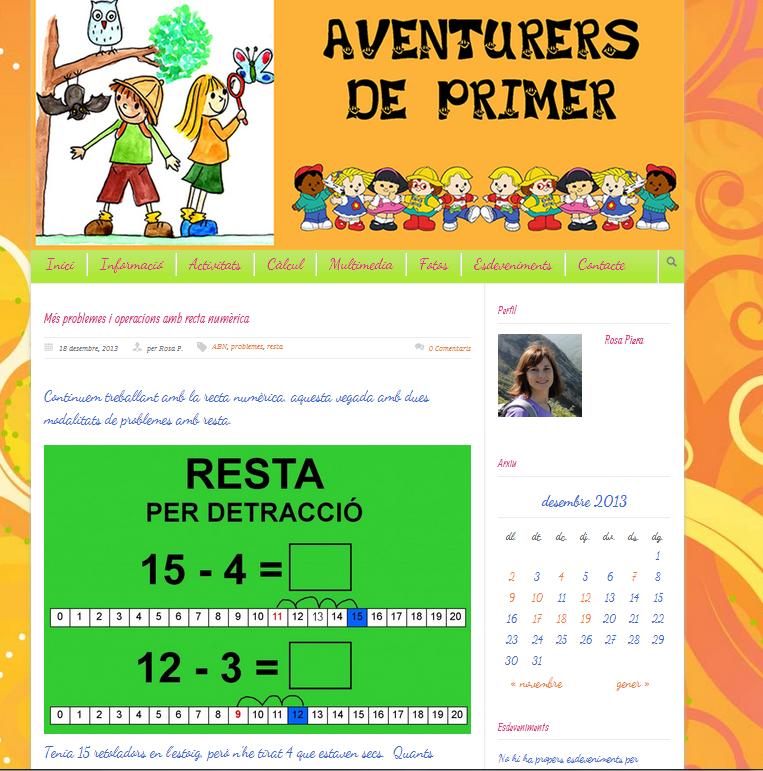 http://primerbdelblasco.afable.es/2013/12/18/mes-problemes-i-operacions-amb-recta-numerica/