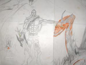 Elven warrior with his pet dragon