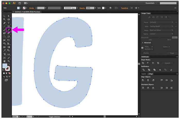 letter is smoother after using smooth tool in illustrator