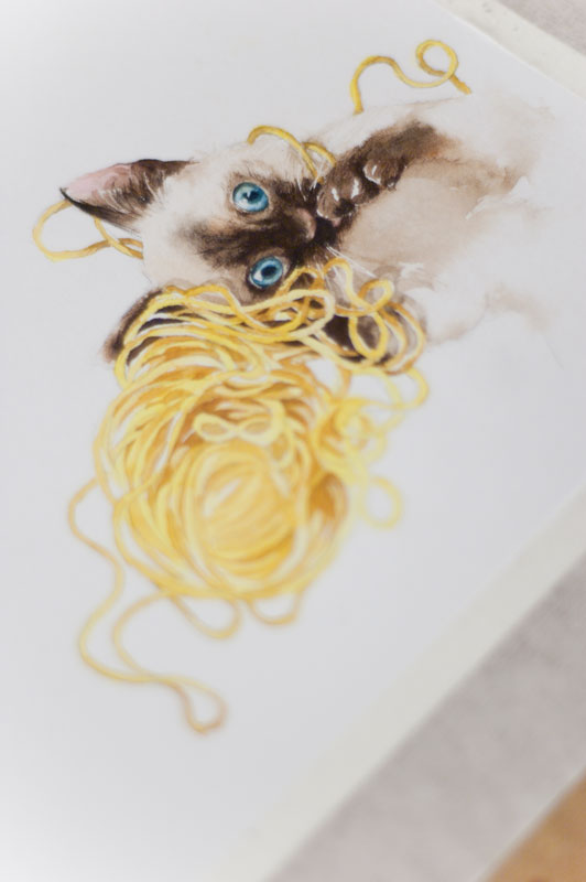 Sketsa Anak Kucing Pun Kuwarnai Sambil Terus Mempelajari Sifat Kertas Dan Juga Kuas Baru Yang Kemarin Dibeli Menyenangkan Penuh Kejutan