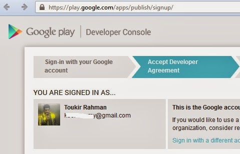 Google Play developer sign up