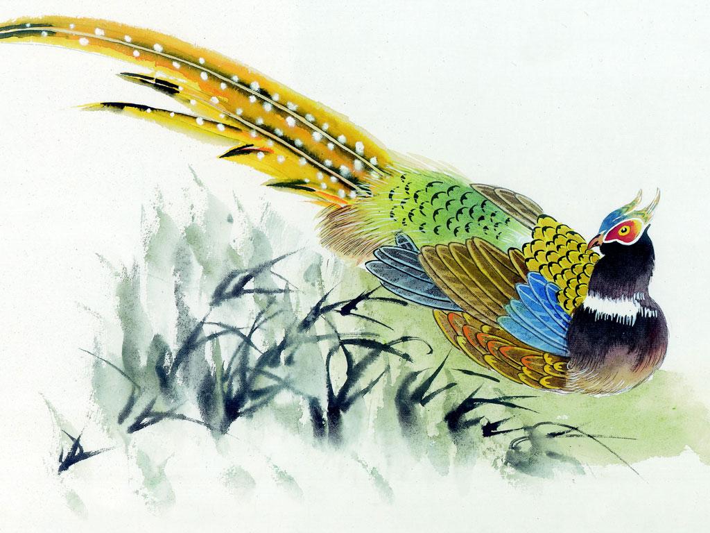 De arte em arte pinturas de p ssaros e outras aves for Chinese mural art