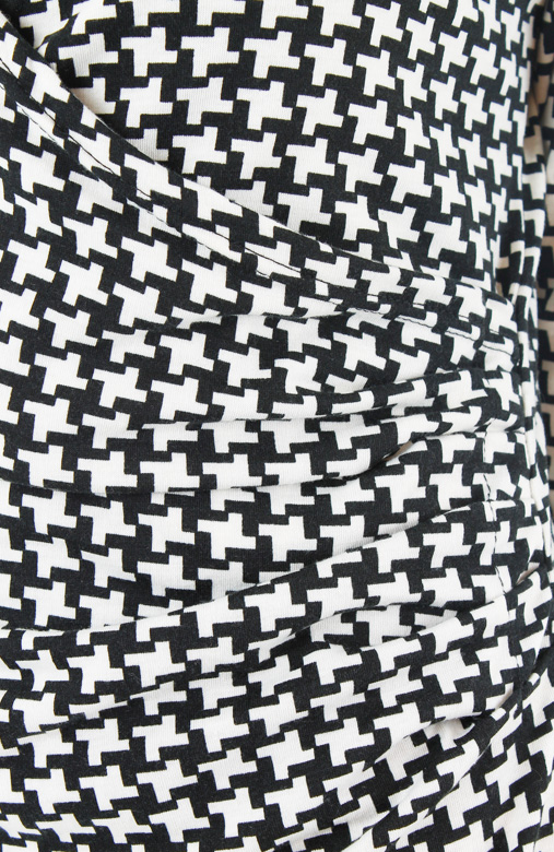 Black & White Houndstooth Wrap Dress with ¾ Sleeves
