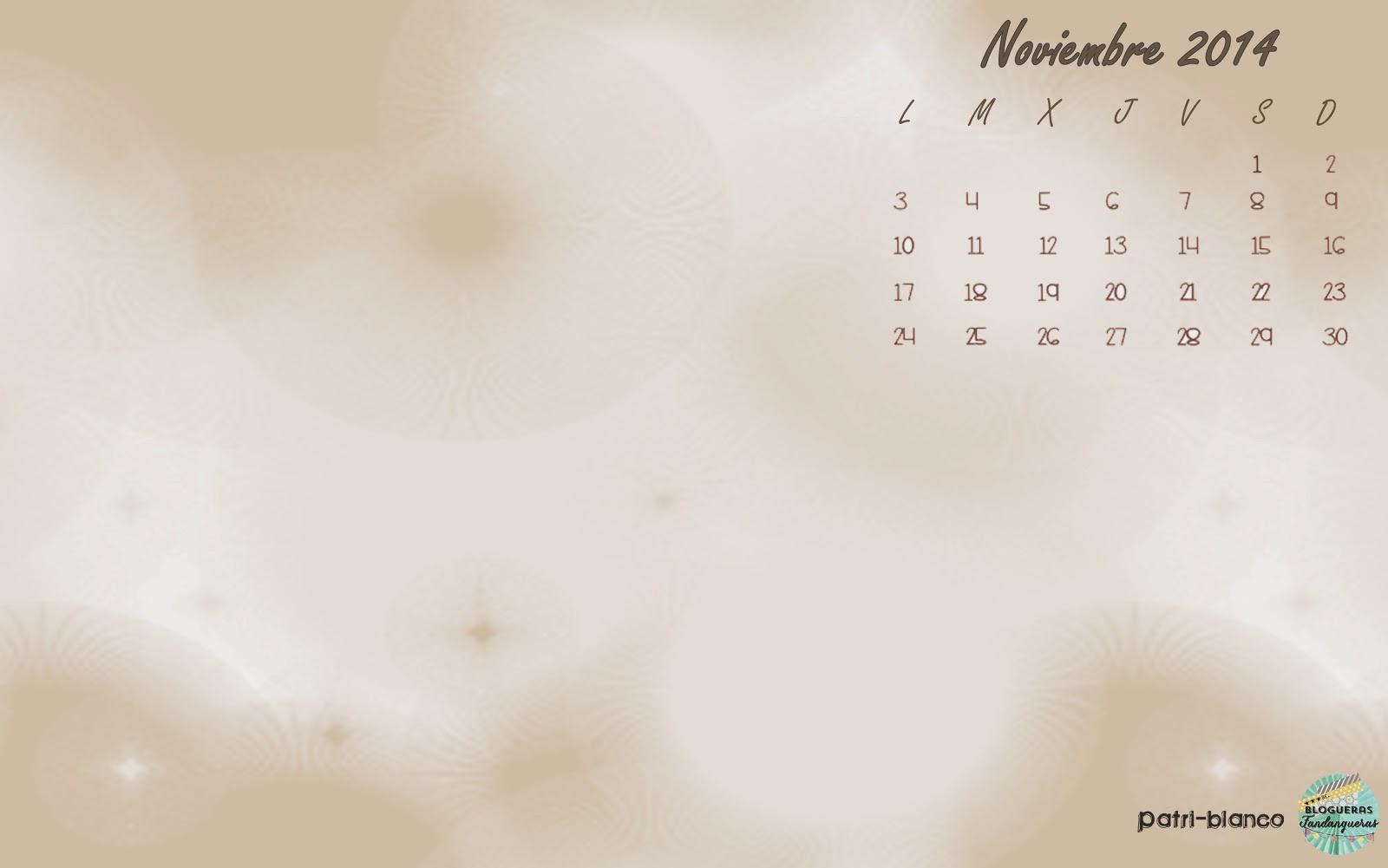 Fondo de escritorio calendario Noviembre