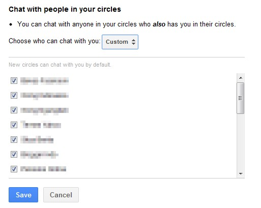 Custom Circle on Google Plus Chat Privacy Settings