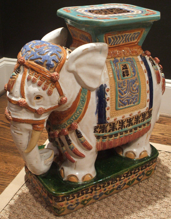 Chinoiserie Chic Elephant Garden Stool HighLow