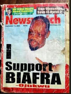 Photo: 2004 Magazine cover where Ojukwu said 'I support Biafra' surfaces online