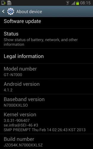 Iniziato l'aggiornamento alla versione 4.1.2 di Android Jelly Bean per lo smartphone Galaxy Note di Samsung