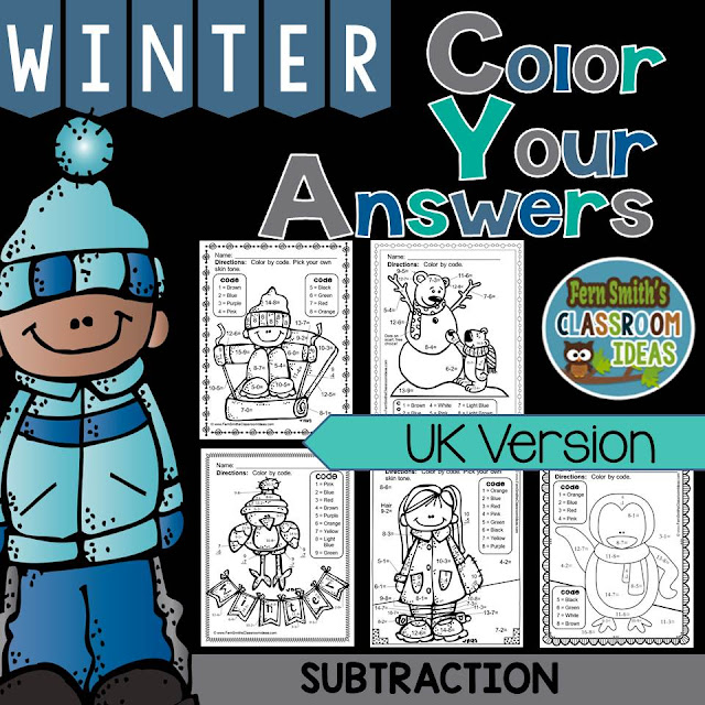 Fern Smith's Classroom Ideas UK Version Winter Fun! Basic Subtraction Facts - Color Your Answers Printables at TeacherspayTeachers, TpT.