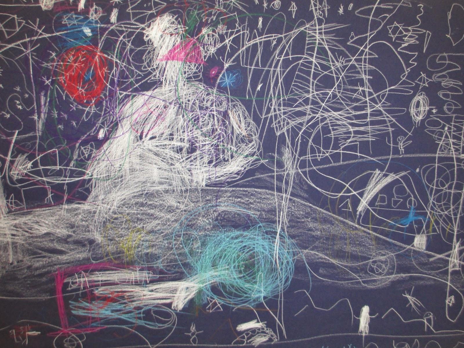 Winter Bild zeichnen mit Kindergartenkindern