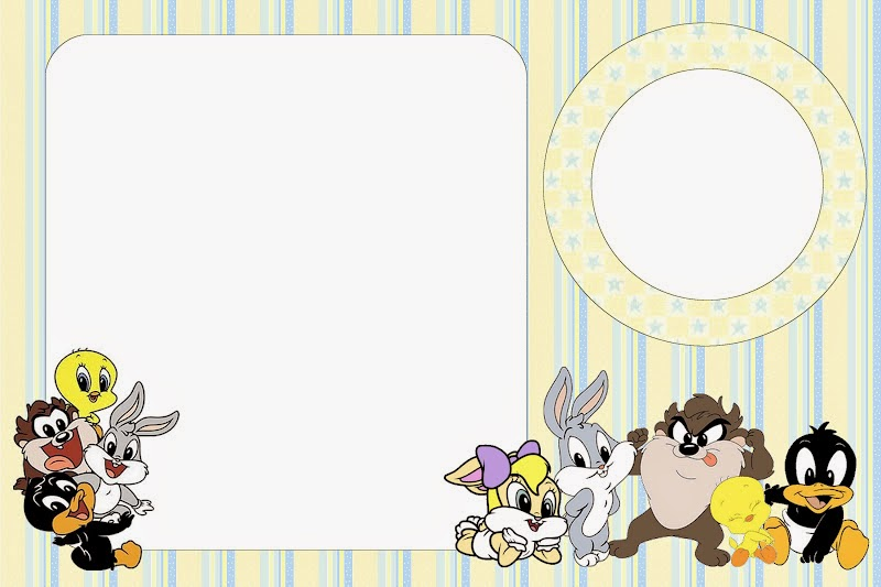 Lonney Tunes Babies: Free Printable Invitations, Labels or Cards.