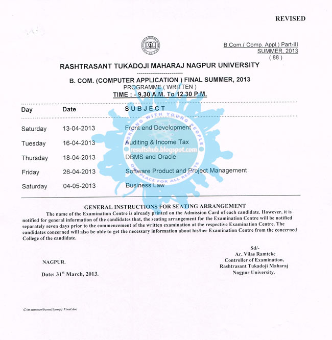 BCCA Final Year Revised New Timetable RTMNU 2013