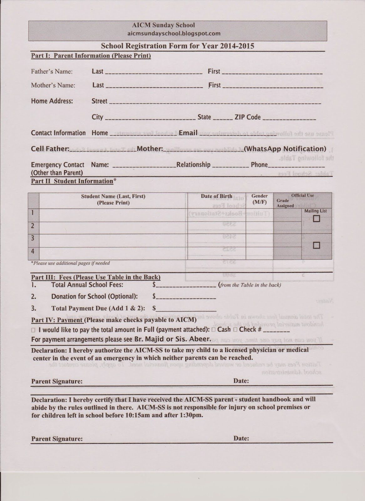 Sunday School Registration Form Template Pictures to Pin on – Enrolment Form Template