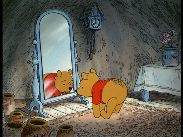 So We Meet Pooh In His Home Inside A Tree Doing Stoutness Exercises I Have To Do Those They Dont Help And While Touching Toes