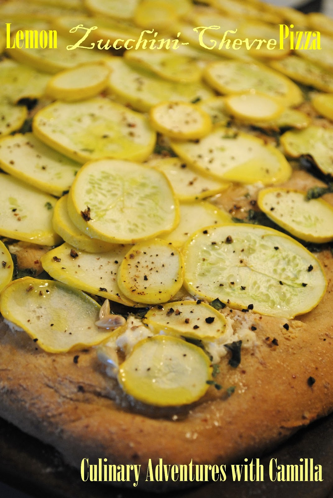 Culinary Adventures with Camilla: Zucchini-Lemon-Chevre Pizza