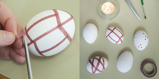 Covering eggs with washi masking tape