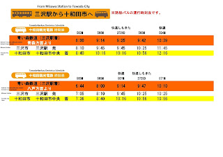 Misawa Station to Towada Bus Schedule 三沢駅から十和田市へのバス時刻表