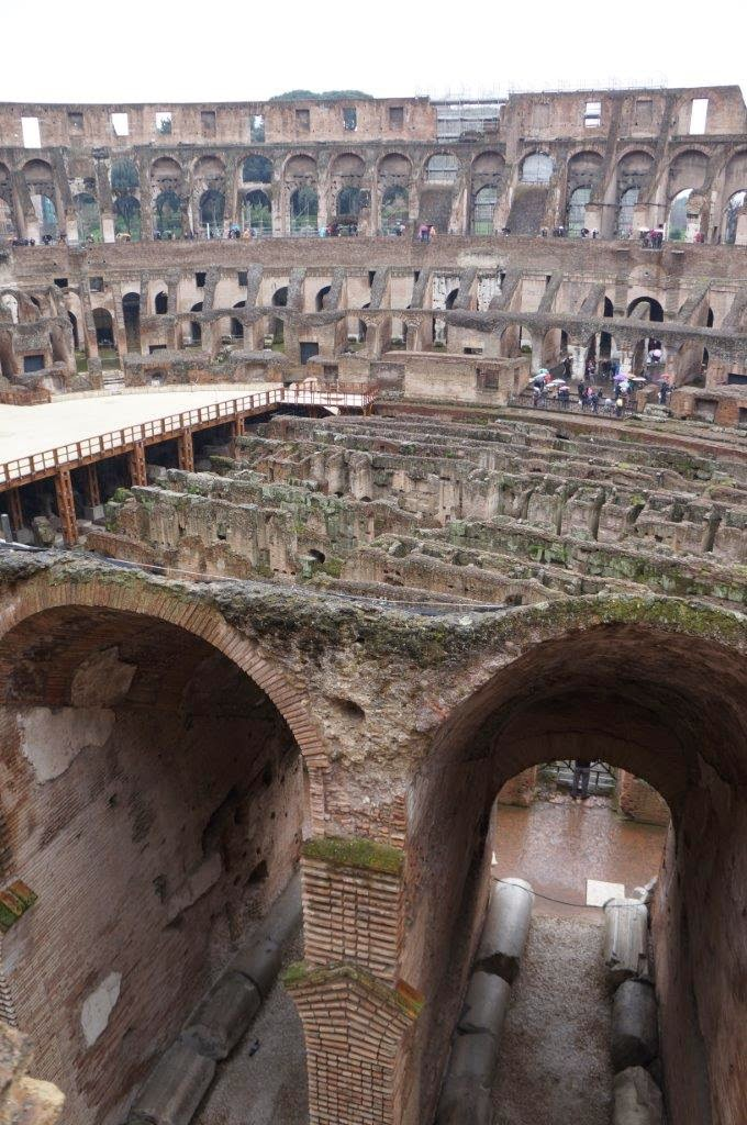 Another view of the Colosseum in Rome, showing the underground passageways.
