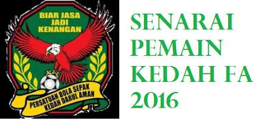 Skuad Piala Belia Kedah 2016
