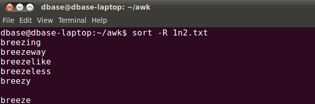 linux random sort command