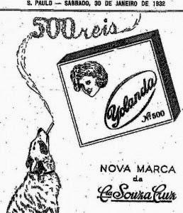 Cachorro fumando cigarro para propaganda dos Cigarros Yolanda, em 1932.