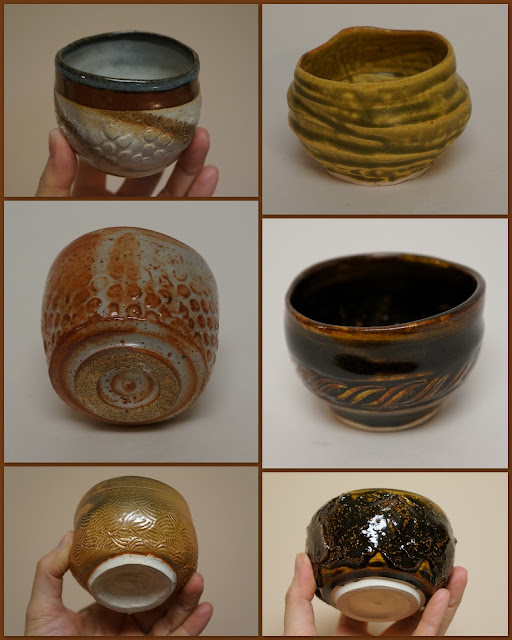 Beautiful ceramic guinomi (sake) or yunomi (tea) cups by Lily L.