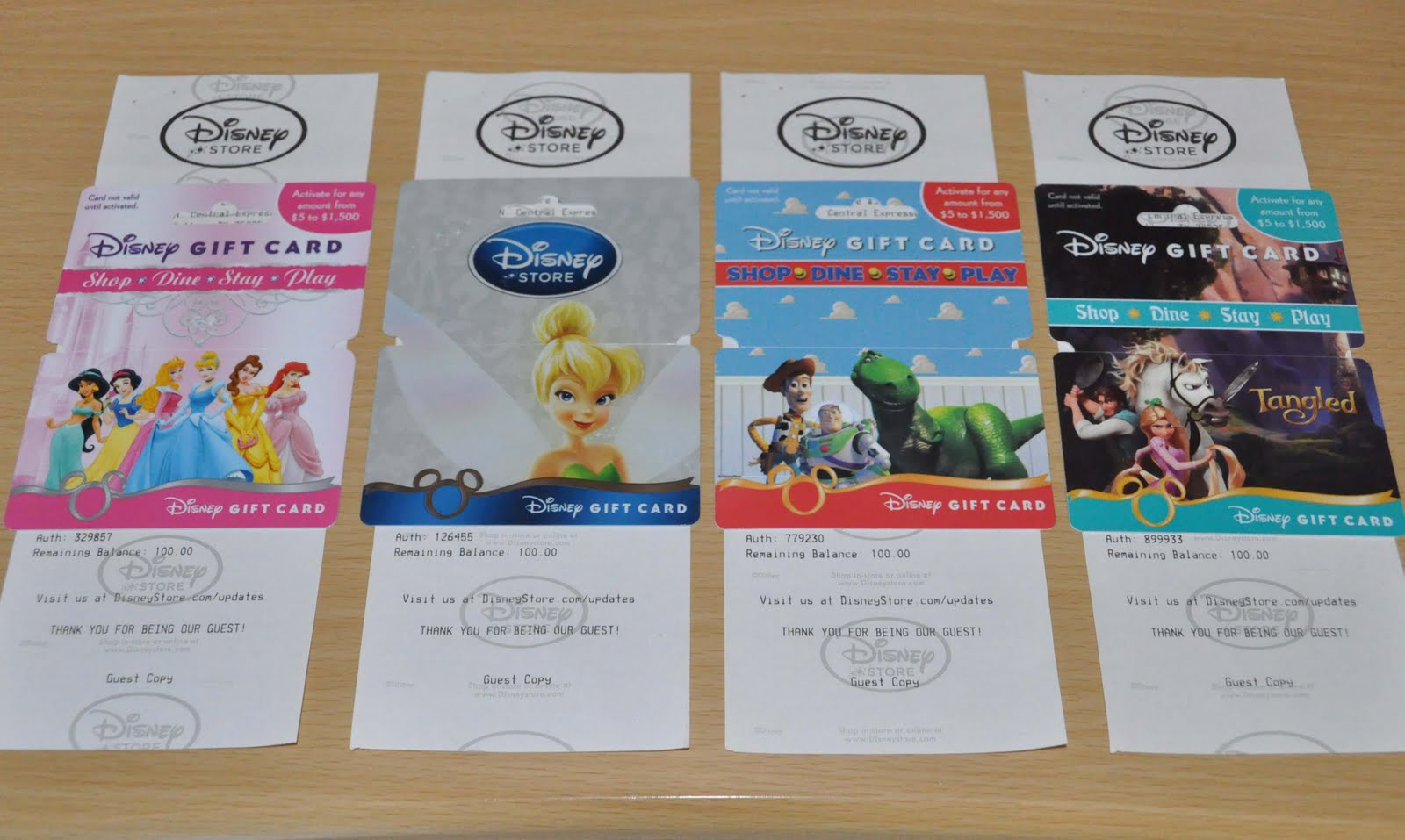 1600 of disney gift cards for