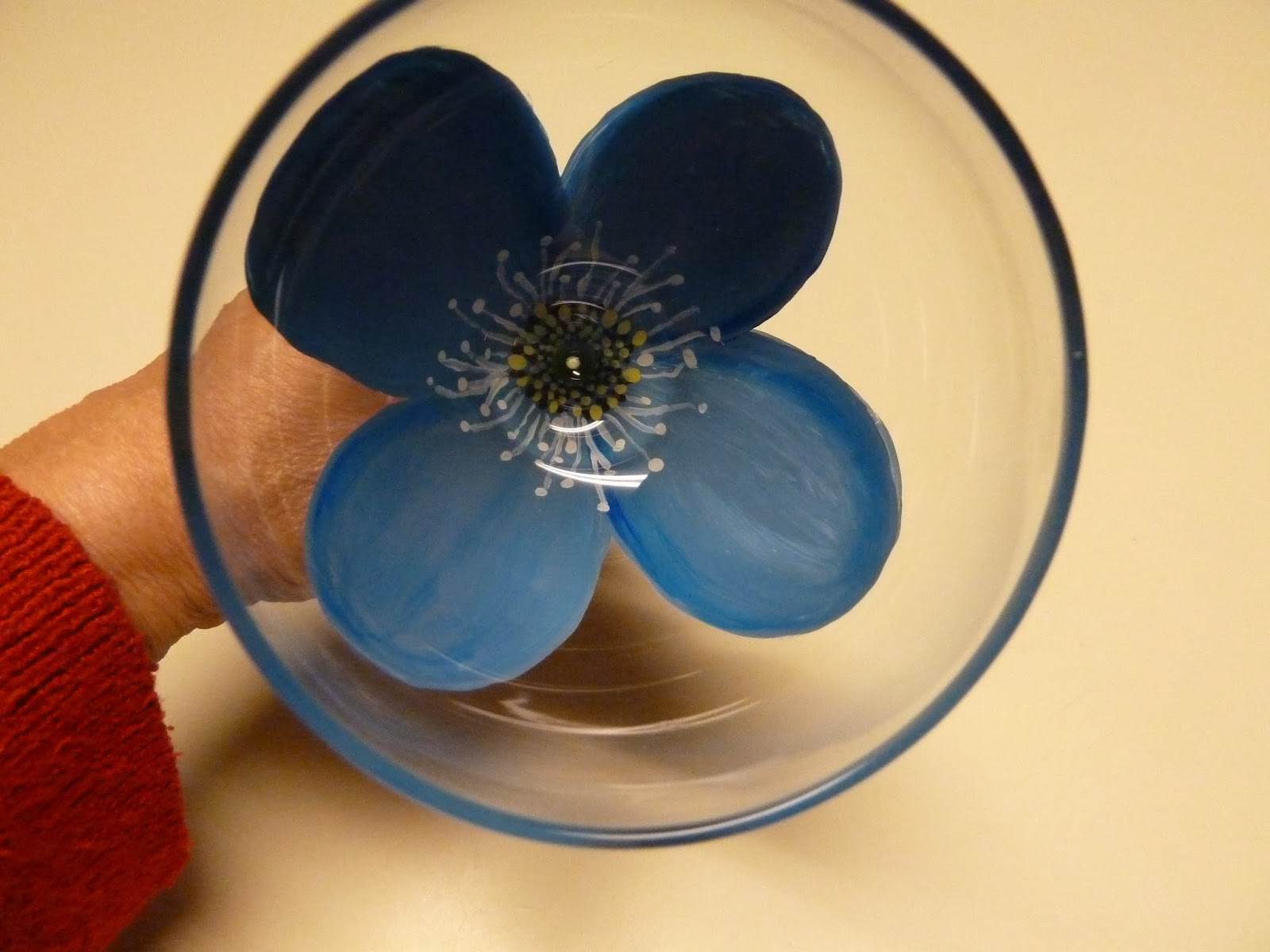 make it easy crafts blue flower with stamens painted wine