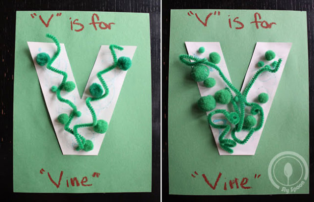 Toddler/Preshooler letter of the week craft V is for Vine with related craft, tracing sheets and fruits/vegetables.