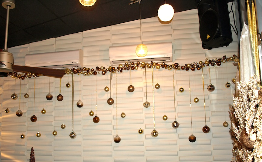 for the christmas season i really like how it turned out i chose a gold and brown color palette for cohesiveness to the existing colors in the space - Restaurant Christmas Decorations