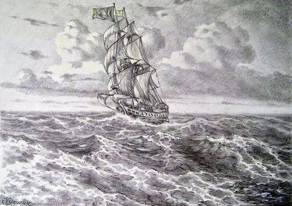 dibujo-a-lapiz-de-paisaje-marino