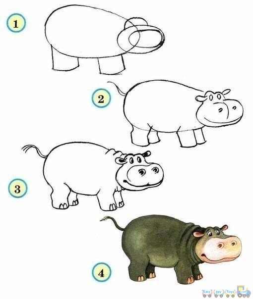 Drawing Simple Animal Hippopotamus pics