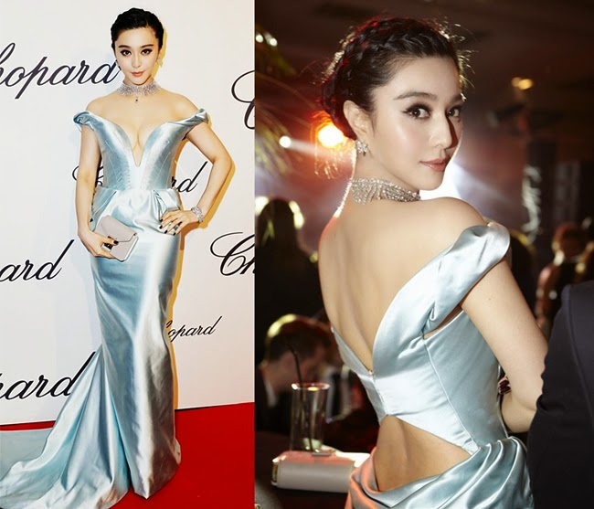 Ulyana Sergeenko Couture 2013 SS Silver off-the-Shoulder Gown with Deep V Neckline