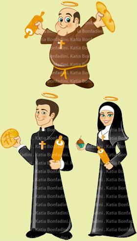 Criação de mascotes para a marca PÃO SANTO