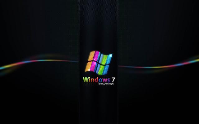 Mooie zwarte Windows 7 wallpaper met gekleurde lijnen en letters