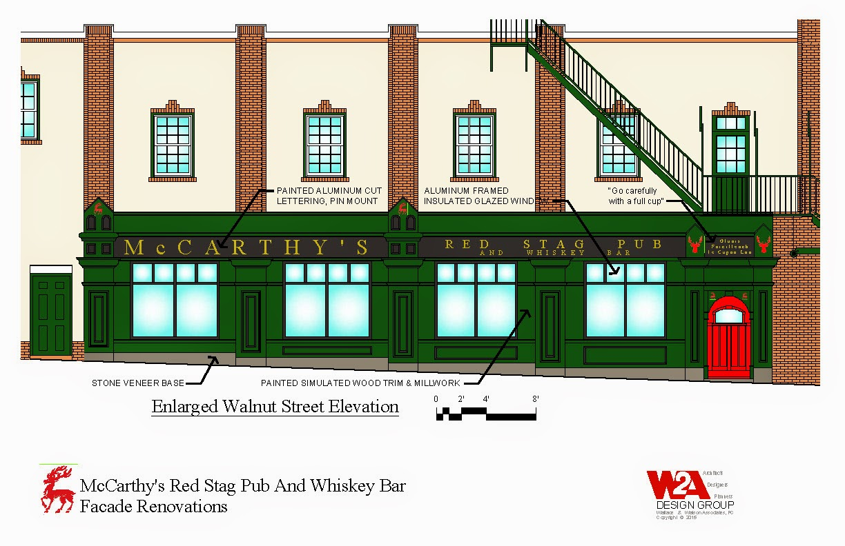 wa design group news w2a design group is excited to be working neville gardner proprietor of donegal square on facade renovations to mccarthy s red stag pub and whiskey