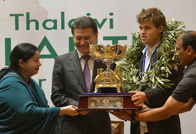 Sports, Chess, India, Winner, Championship, Norwegian Magnus Carlsen, Champion, World Chess Federation-FIDE, Chief Minister, Chennai, Trophy, Chess World Championship, Norway,
