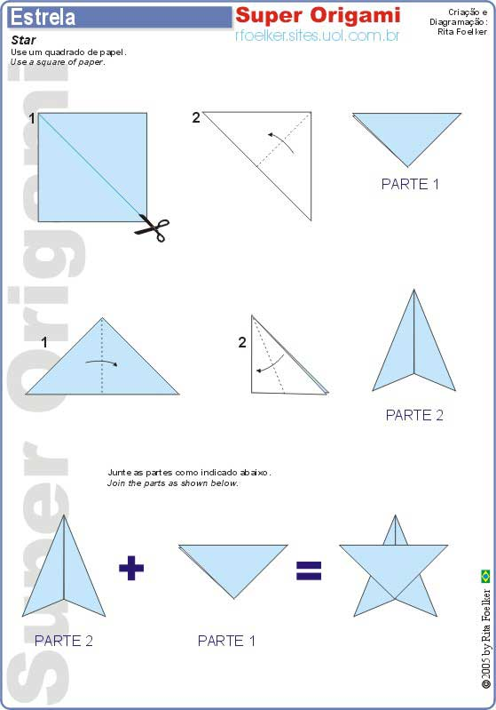 ORIGAMIS  DOBRADURAS Origami Ninja Star Instructions