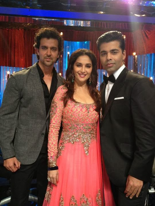 "Madhuri Dixit with Hrithik Roshan and Karan Johar On Sets Of ""Jhalak Dihklaja Jaa"""