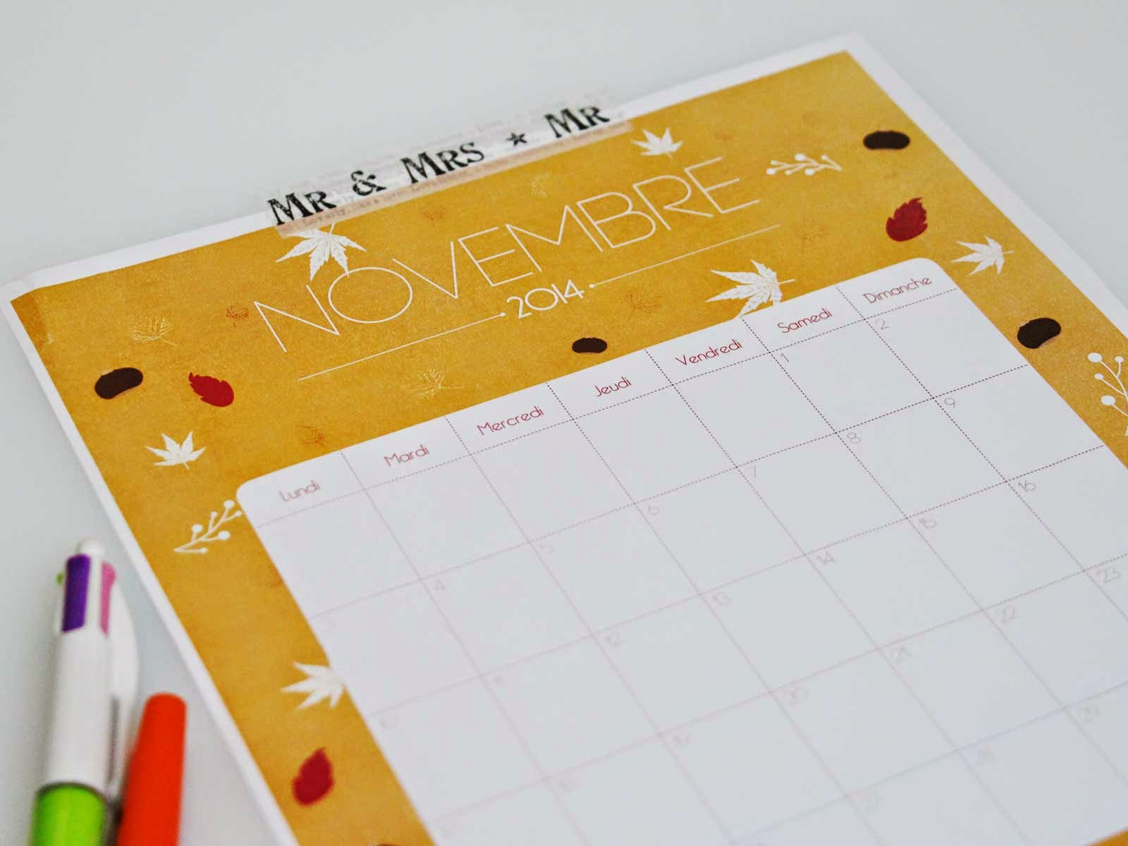 Calendrier printable - Laitfraisecreation